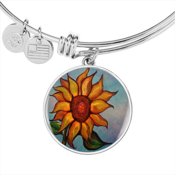 Sunflower by Lumens - Adjustable Luxury Bangle Bracelet in Silver or Gold