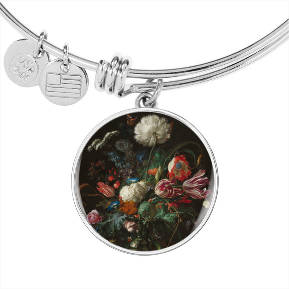 Vase of Flowers by de Heem - Adjustable Luxury Bangle Bracelet in Silver or Gold