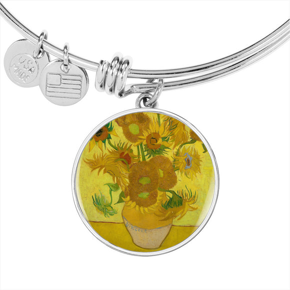 Sunflowers, Yellow Background by van Gogh - Luxury Bangle Bracelet, Engravable