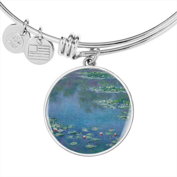 Water Lilies by Monet - Luxury Bangle Bracelet in Silver or Gold