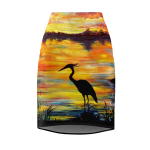 Heron Sunset by Tocher - Pencil Skirt