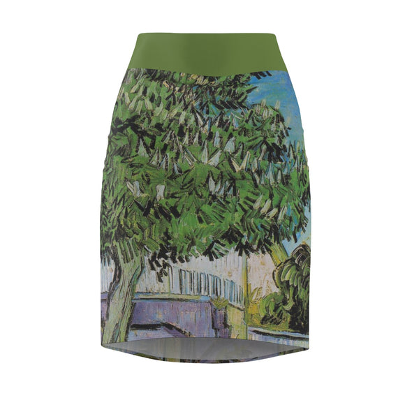 Chestnut Tree in Blossom by van Gogh - Women's Pencil Skirt