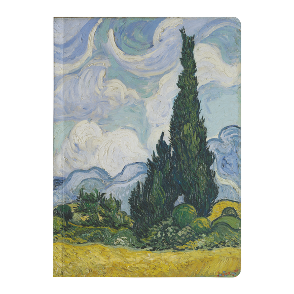 Wheat Field with Cypresses by van Gogh - Paperback Journal