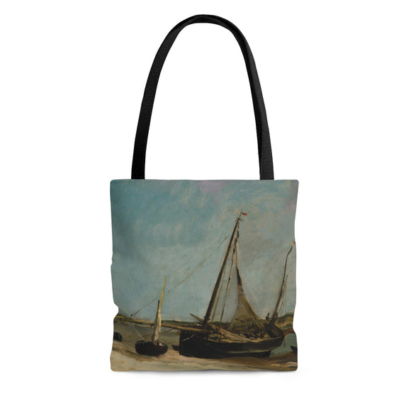 Boats on the Seacoast at Etaples by Daubigny - Cloth Tote Bag