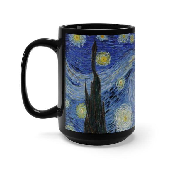 Starry Night by van Gogh (sky) - Black Mug 15oz