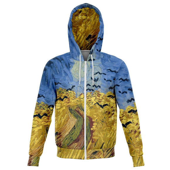 Wheatfield with Crows by van Gogh - Zip-Up Hoodie with Brushed Fleece Inside
