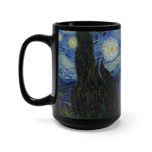 Starry Night by van Gogh (village) - Black Mug 15oz