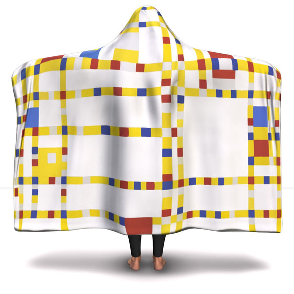 Broadway Boogie Woogie by Mondrian - Hooded Blanket