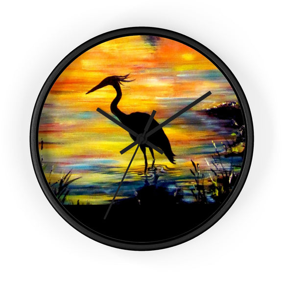 Heron Sunset by Tocher - Wall clock