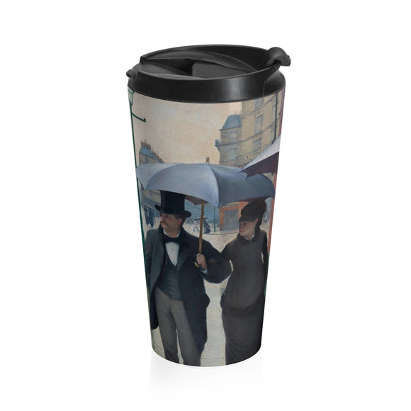 Paris Street, Rainy Day by Caillebotte - Stainless Steel Travel Mug
