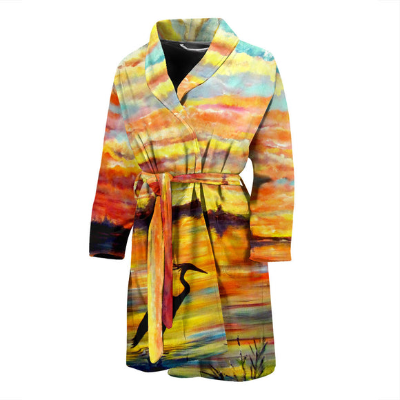 Heron Sunset by Tocher - Men's Bathrobe
