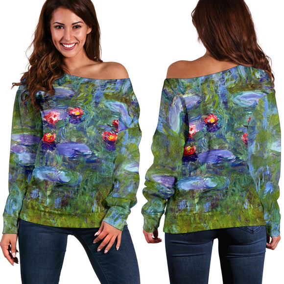 Water Lilies by Monet - Off the Shoulder Sweater
