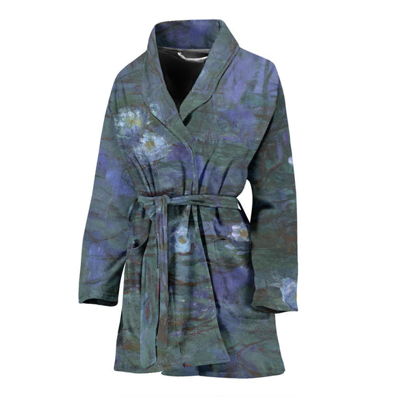 Blue Water Lilies by Monet - Women's Bathrobe