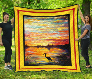 Heron Sunset by Tocher - Art Quilt in 5 sizes