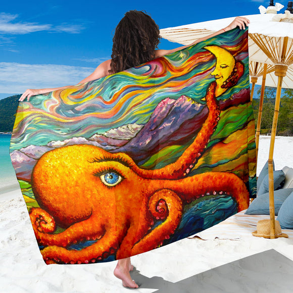 Octopi Port Angeles by Tocher - Large Scarf, Sarong, Wall Hanging