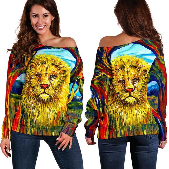 Soul Lion by Tocher - Off-the-Shoulder Sweater