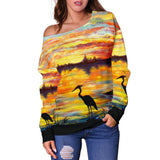 Heron Sunset by Tocher - Off-the-Shoulder Sweater
