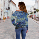 Starry Night by van Gogh - Off Shoulder Sweater