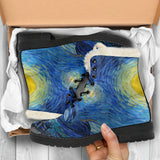 Starry Night by van Gogh - Faux Fur Leather Boots