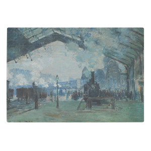 Arrival of the Normandy Train by Monet - Glass Cutting Board