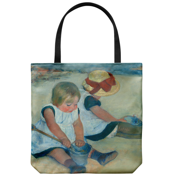 Children Playing on the Beach by Cassatt - Cloth Tote Bag