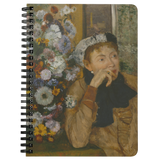 A Woman Seated Beside a Bouquet of Flowers by Degas - Spiralbound Notebook