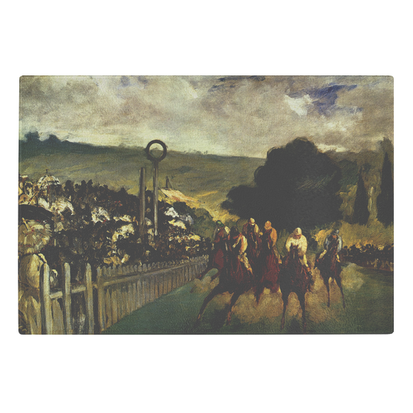 The Races at Longchamp by Manet - Glass Cutting Board