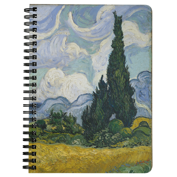 Wheat Field with Cypresses by van Gogh - Spiralbound Notebook