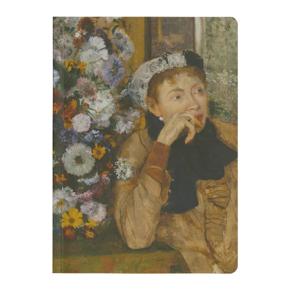 A Woman Seated Beside a Bouquet of Flowers by Degas - Paperback Journal
