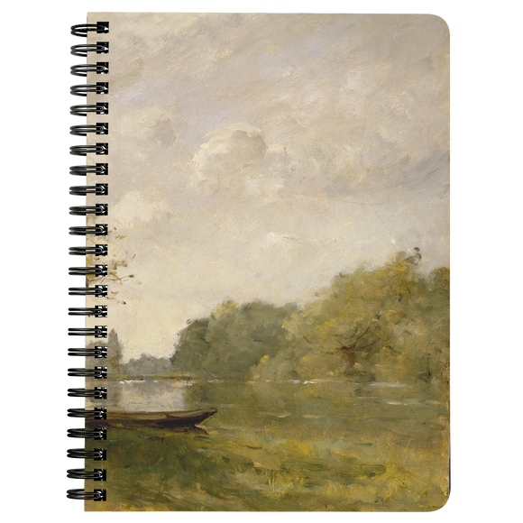 A Pond Near Nangis by Trouillebert - Spiralbound Notebook