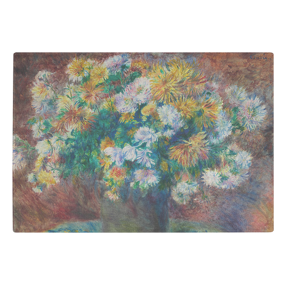 Chrysanthemums by Renoir - Glass Cutting Board