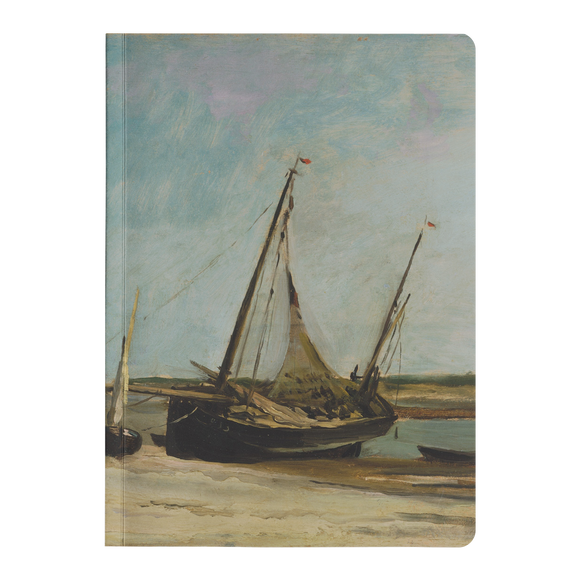 Boats on the Seacoast at Etaples by Daubigny - Paperback Journal
