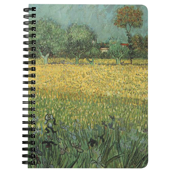 View of Arles with Irises by van Gogh - Spiralbound Notebook
