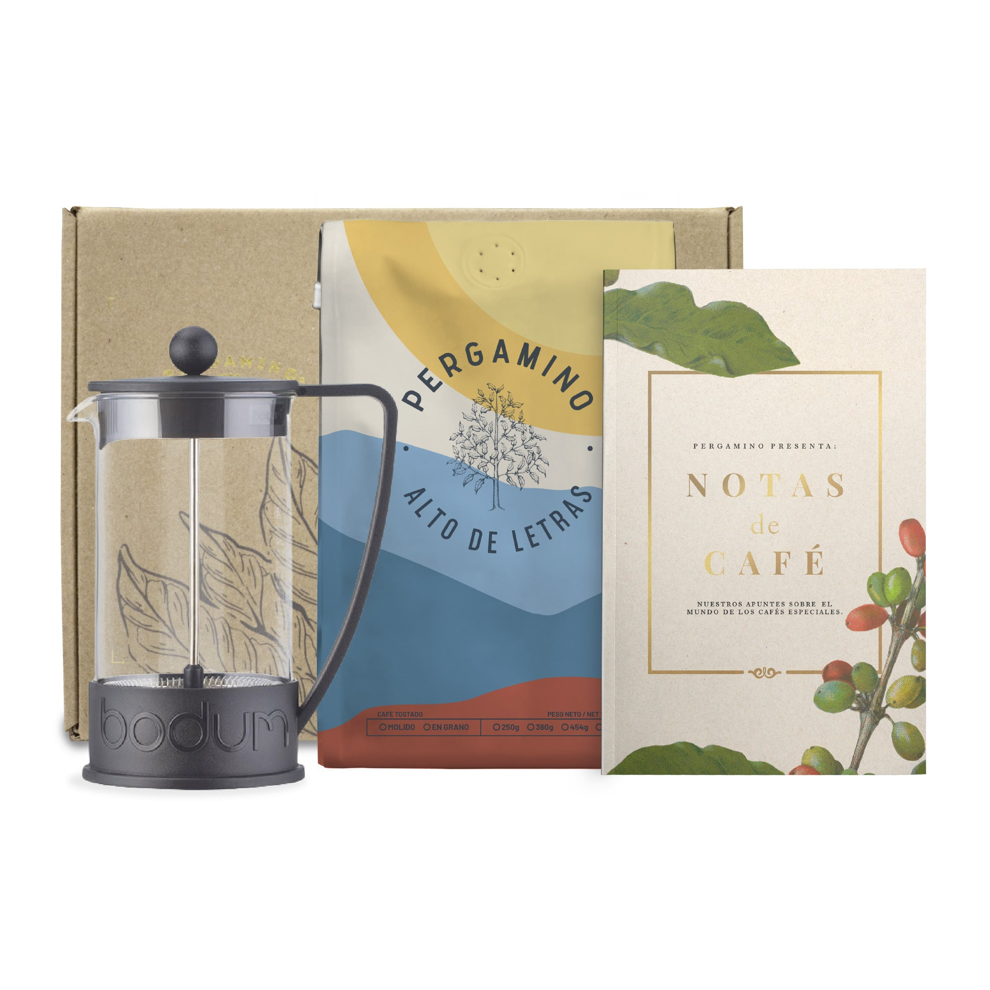 PERGAMINO Coffee Gift Kit + French Press