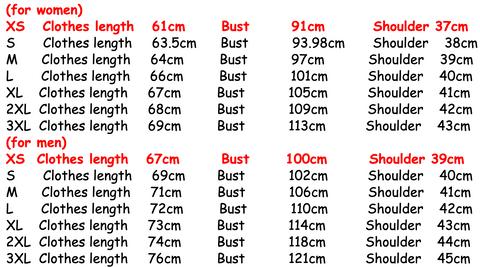 bonnie and clyde t-shirts size guide