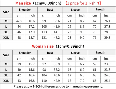 disney couple shirts size guide