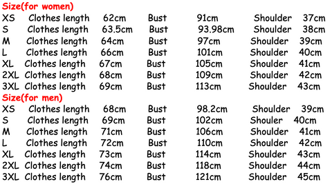 wife and husband t-shirts size guide