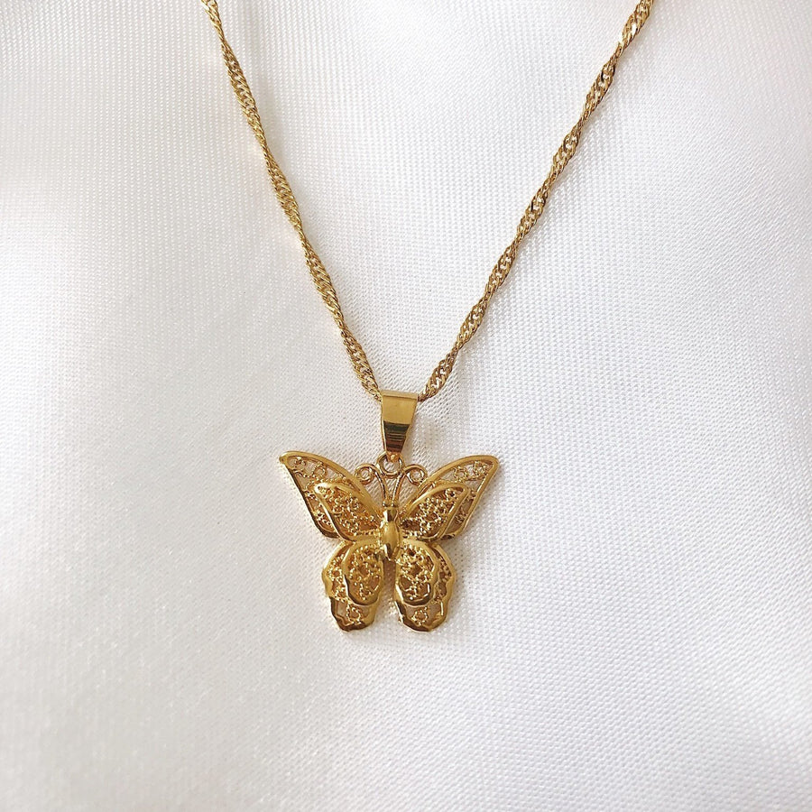 Butterfly Pendant Necklace worn