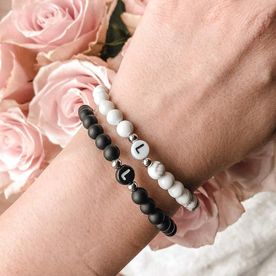 Couple Initial Bracelet - black and white
