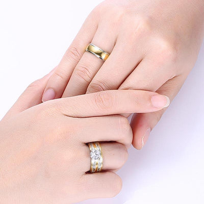 Couple Promise Rings Set worn