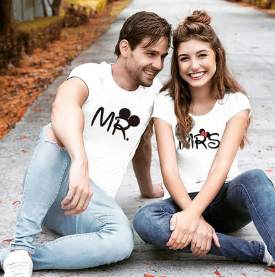disney couple shirts - white