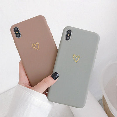 Heart Phone Cases - Brown and Grey