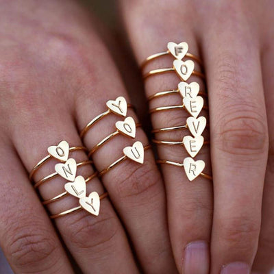 Initial Heart Ring - Gold