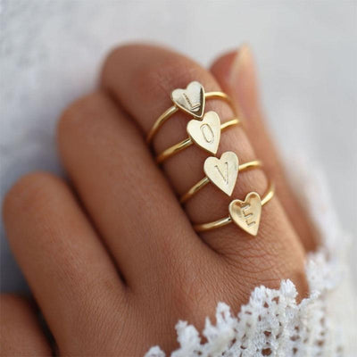 Initial Heart Ring - Love