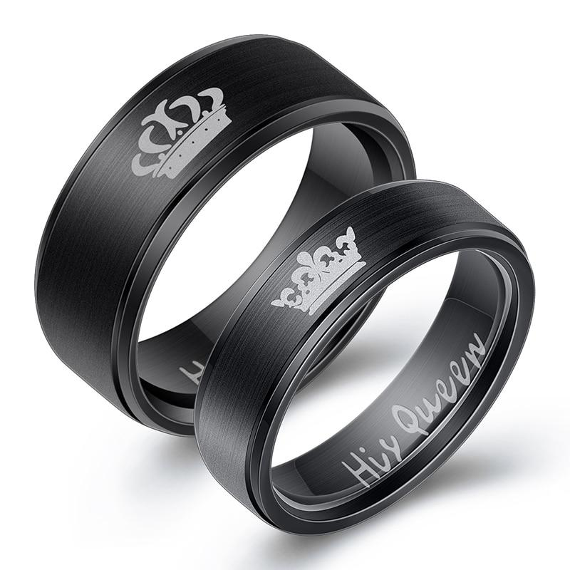 King and Queen Couple Rings - Silver