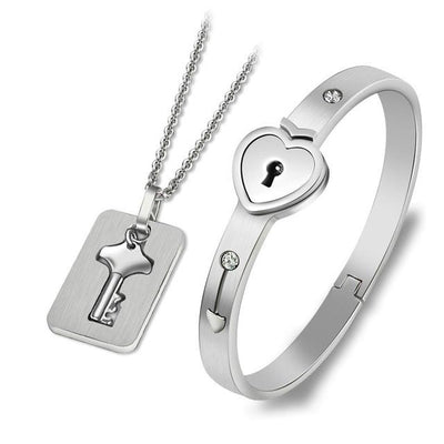 Lock and Key Bracelet and Necklace - Silver