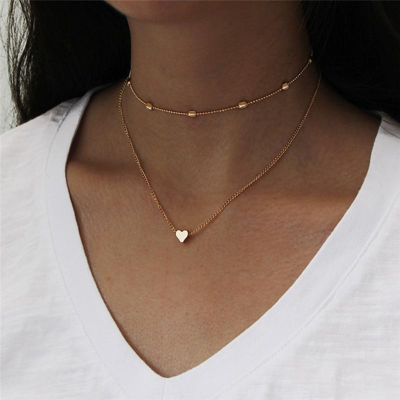Love Heart Necklace - Gold around the neck
