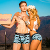 "Matching Couple Underwear Set ""Moustache"" worn"