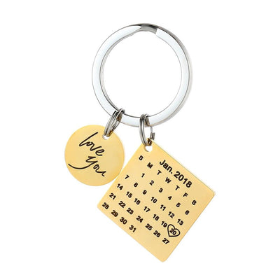 Personalized Calendar Keychain - gold
