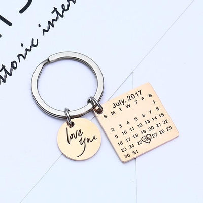 Personalized Calendar Keychain - rose gold